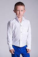 Рубашка для мальчика белая с голубым рисунком
