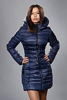 Зимняя женская молодежная куртка. Код К-63-12-16. Цвет темно синий.
