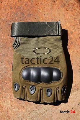 Тактические перчатки Беспалые Oakley Олива lux