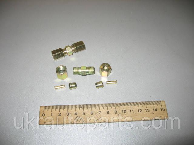Ремкомплект тормозной трубки ПВХ диаметром 6мм (прямой,метал,7 наименований,на 2 стороны) (ркАРФ-6-мет-7наим.)