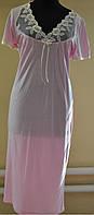 Длинная ночная рубашка женская с кружевом  Белла для полных, модели в размерах 48, 50, 52, 54, 56, 58, 60