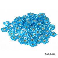 Фимо нарезка голубые весенние цветы