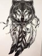 Флеш тату. Временная татуировка. Волк