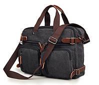 """Сумка через плече рюкзак """"Трансформер"""" тёмно серый, фото 1"""