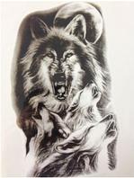Флеш тату. Временная татуировка. Волки 21*15 см