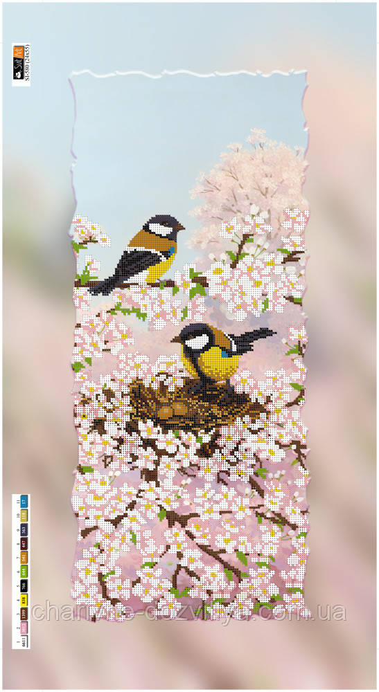 """Схема для вышивки бисером на подрамнике (холст) """"Времена года. Весна"""" - интернет-магазин Чарівниця в Херсоне"""