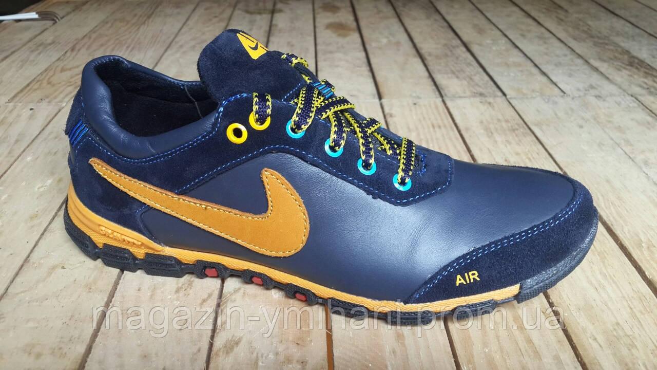 65705cf14a34b7 Подростковые кожаные сине - желтые кроссовки Nike. Украина -  Интернет-магазин