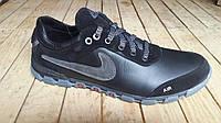 Подростковые кожаные черно-серые кроссовки Nike. Украина