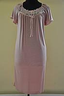 Длинная ночная сорочка женская с кружевом Вера для полных, модели в размерах 44, 46, 48, 50, 52, 54, 56, 58,60