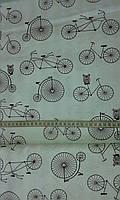 Ткань с велосипедами и совами на белом фоне, фото 1