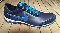 Подростковые кожаные синие кроссовки Nike. Украина