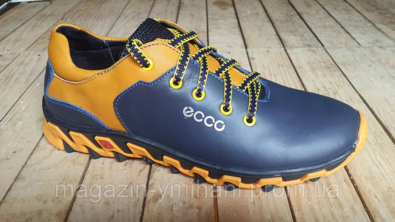 80f9dbc2a1fdc0 Подростковые кожаные сине - желтые кроссовки ECCO. Украина -  Интернет-магазин