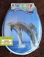 """Сиденье мягкое с крышкой для унитаза Aqua Fairy """"Три дельфина"""""""