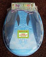 """Сиденье мягкое с крышкой для унитаза Aqua Fairy """"Два дельфина"""""""