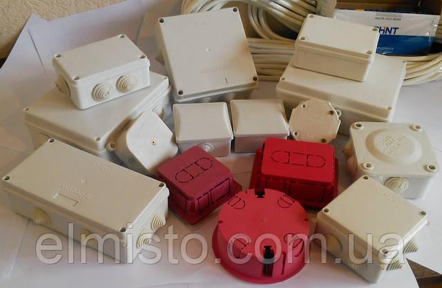 Коробка монтажная квадратная для наружной (открытой) установки 80х80х40мм IP54 с 4-мя гермовводами (кратно 20шт)