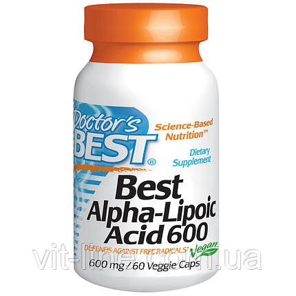 Doctor's Best, Альфа-липоевая кислота (Best Alpha-Lipoic Acid), 600 мг, 60 растительных капсул, фото 2