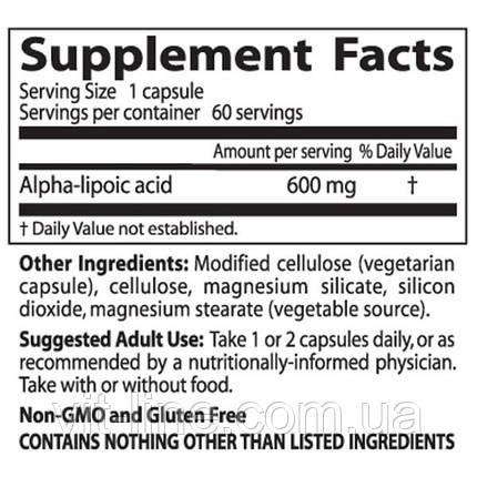 Doctor's Best, Альфа-липоевая кислота (Best Alpha-Lipoic Acid), 600 мг, 60 растительных капсул, фото 2