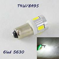 Автомобильная лампа SLS LED под цоколь T4W(BA9S)  6 светодиодов типа 5630 12 В. Белый
