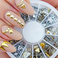 Набор металлических украшений (заклепки) для декора ногтей Nail Art