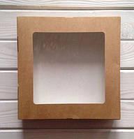 Крафт-коробка с прозрачым окошком 20x20x4 см