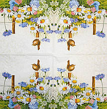 Салфетки красивые Птичка в ромашках 1495
