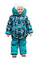 Детские зимние термо комбинезоны для девочек р.86-110 до -20 мороза на наши зимы бирюзовый снеговик 2017