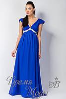 Платье летнее длинное с украшением. /Синее/. 5 цветов.