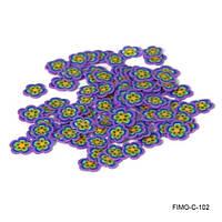 Фимо нарезка цветок с фиолетовым ободком и желтой серединкой