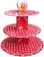 Стойка для капкейков картонная (Красная в горошек)
