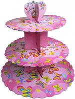 Стойка для капкейков картонная (Розовая с бабочками)