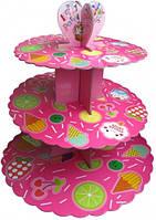 Стойка для капкейков картонная (Ярко розовая с мороженым)