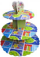 Стойка для капкейков картонная (Праздничная)