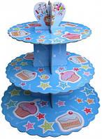 Стойка для капкейков картонная (Голубая с тортиком и кексом)