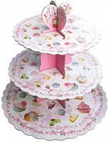 Стойка для капкейков картонная (Нежно розовая с пирожеными)