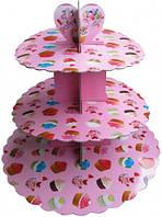 Стойка для капкейков картонная (Розовая с капкейками)