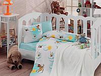 """Детское постельное бельё в кроватку Cotton Box с вязаным пледом """"Bambis"""" 100% хлопок"""