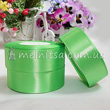 Атласная лента 2,5 см, №52 светло-зеленая