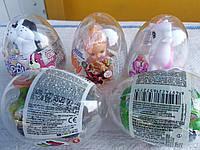 Яйцо пластиковое с игрушкой+драже в ассортименте