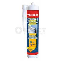 Герметик силіконовий санітарний, прозорий, 230 мл Technics 12-268 | силиконовый санитарный прозрачный