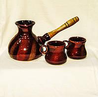 """Набір кавовий (турка 400 мл. з двома горнятками), декор """"Дзиґа"""""""""""