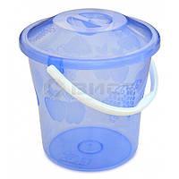 Відро пластикове з кришкою прозоре, харчове, 10 л 66-267  // Ведро пластиковое с крышкой прозрачное, пищевое, Украина