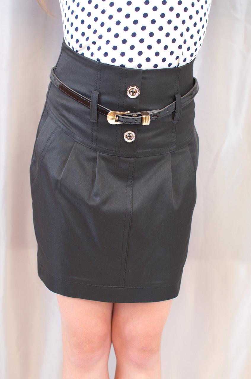 Нарядная прямая черная школьная юбка с поясом