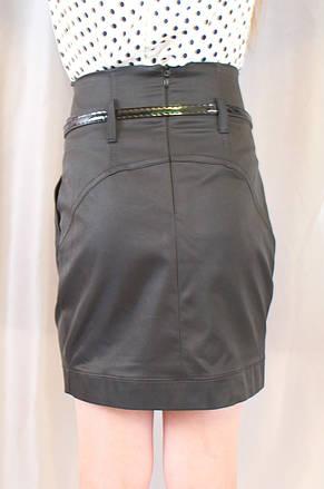 Нарядная прямая черная школьная юбка с поясом, фото 3