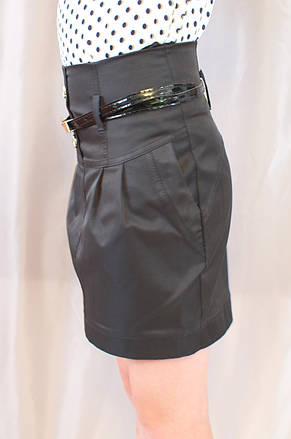 Нарядная прямая черная школьная юбка с поясом, фото 2