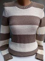 Полосатый свитер, капучино+белый