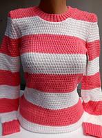 Полосатый свитер, коралл+белый