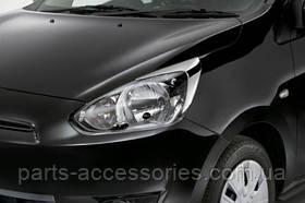Mitsubishi Mirage 2014 хромовые накладки на фары реснички новые оригинальные