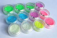 Цветной светонакопительный порошок, песок для дизайна ногтей, набор 12шт