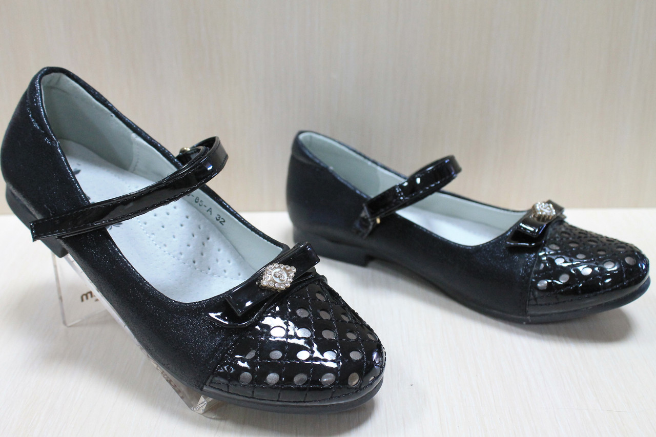 d96fdd5cd Подростковые черные туфли на девочку лакированный носок, школьные обувь тм  Том.м р.