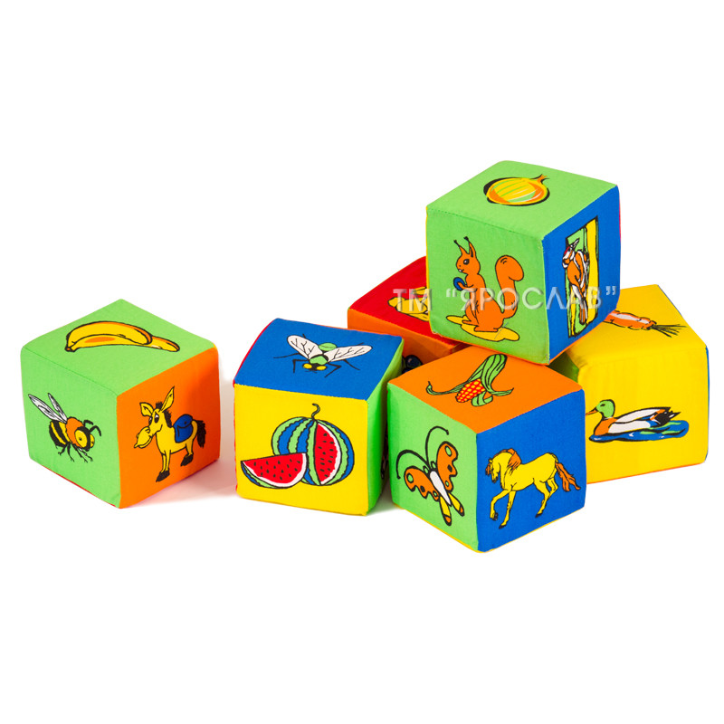 Набор мягких кубиков ТМ Ярослав с картинками